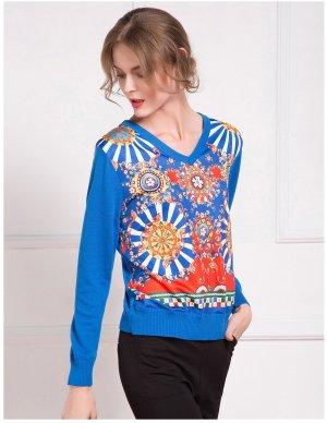 Damen V-Ausschnitt Pullover langärmlig