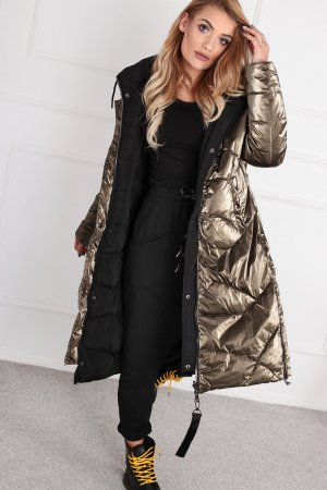 Manteau matelassé noir-doré