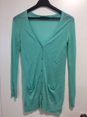Hallhuber Gilet long tricoté vert menthe-turquoise