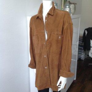 Jobis Leather Shirt cognac-coloured
