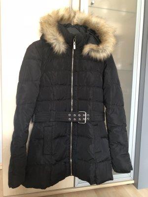 Damen Winter Jacke Warme Jacke Schwarz Pimkie Gr S 36 Mit Kapuze Fell mit Gürtel