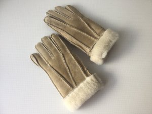 Bont handschoenen beige-wolwit Leer