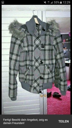 Damen Winterjacke grau mit Fellkaputze
