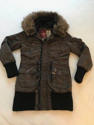 Damen Winterjacke mit Fell, khujo, Gr. S/M, braun, Style: Cille