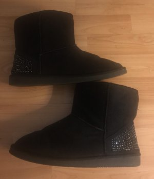 Damen Winterstiefel Boots schwarz Strass 40