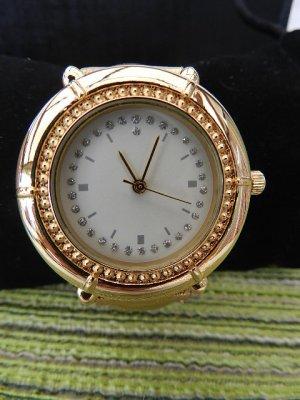 Damenarmbanduhr-schicke-Uhr-ganz-in-Gold-Quarz-Analog