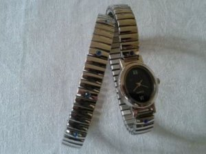 Watch With Metal Strap silver-colored-blue metal
