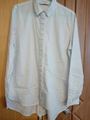 Max Volmáry Blouse à manches longues blanc-bleu acier coton