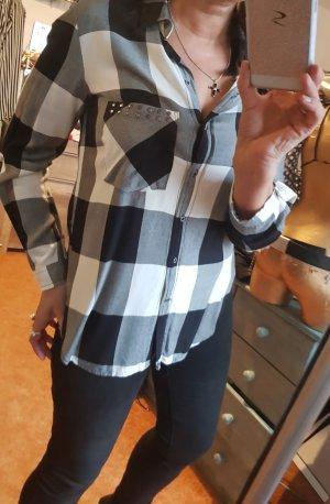Zara Camicetta a maniche lunghe nero-bianco Viscosa