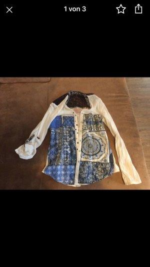Desigual Blusa in merletto bianco-blu