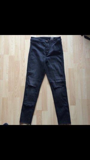 H&M Drainpipe Trousers dark grey-grey