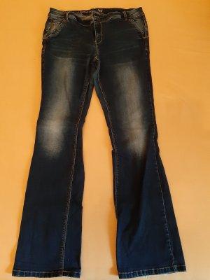 Janina Pantalón elástico azul oscuro-azul acero