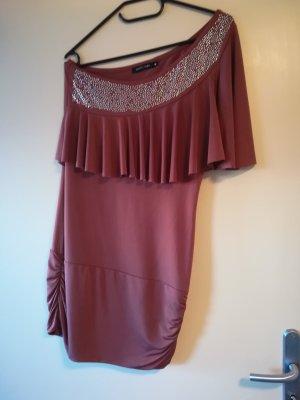 Jennifer Taylor Off-The-Shoulder Dress cognac-coloured-brown red