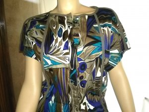 Damenkleid - Fink Modell - Gr.42 - shirtkleid - braun/blautöne