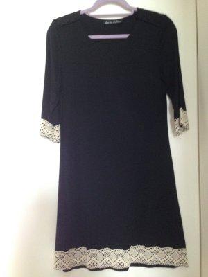Damenkleid, Kleid, Hängerchen, Gr. M, ca 38, schwarz, Häkelbordüre, neuwertig
