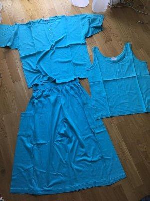 Vintage High Waist Skirt light blue-neon blue