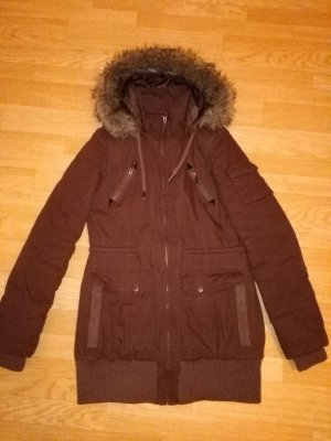 Hooded Coat brown polyester