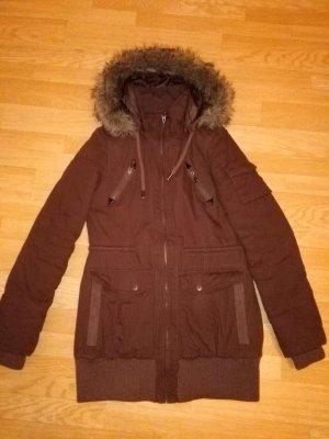 Manteau à capuche brun polyester