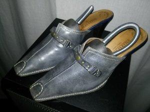 Sally O'Hara Heel Pantolettes slate-gray leather