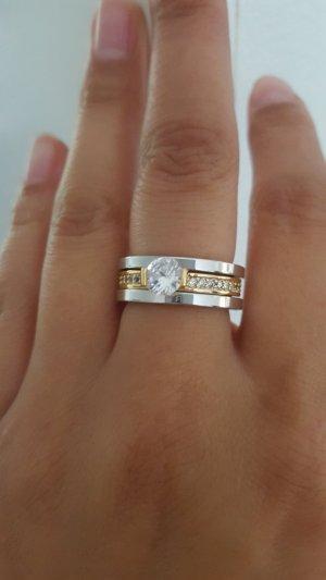 Zilveren ring zilver-goud