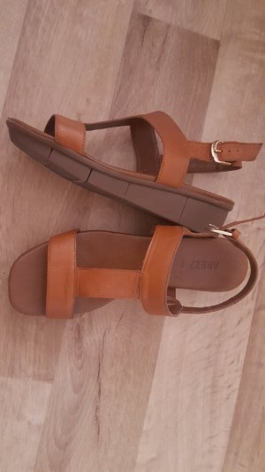 Arezzo Strapped High-Heeled Sandals brown-cognac-coloured