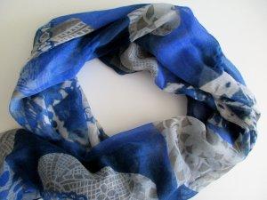 Damenschal ca. 100 x 200 cm blau grau Muster