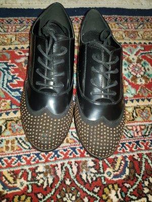 Rocco Barocco Zapatos estilo Oxford negro-color oro