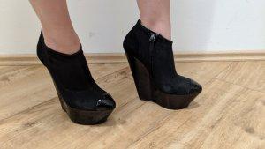 Damenschuhe Größe 38/39 (Wedge-Plateau-Booties schwarz)