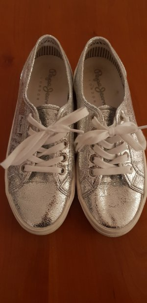 Pepe Jeans Lace Shoes silver-colored leather