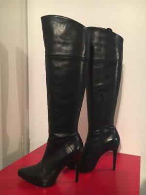 Damenschuhe Stiefel schwarz High-Heels Echtleder 37 Buffalo Overkneestiefel
