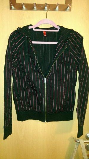 H&M Veste chemise noir-rose coton