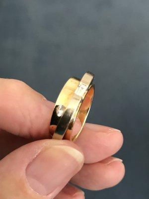 Damenspangenring, 750 Gold, Gelbgold/Weißgold Durchmesser 1,8 cm