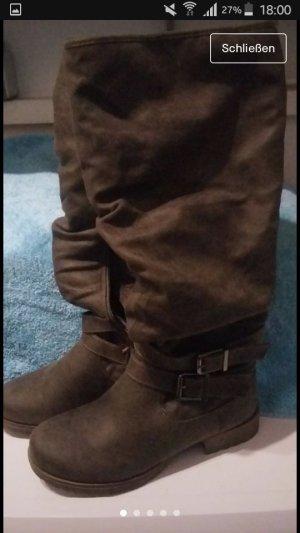 Just Fab Botas de pantorrilla ancha marrón oscuro