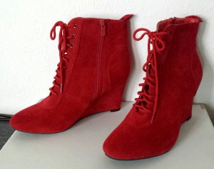 Wedge Booties red imitation leather