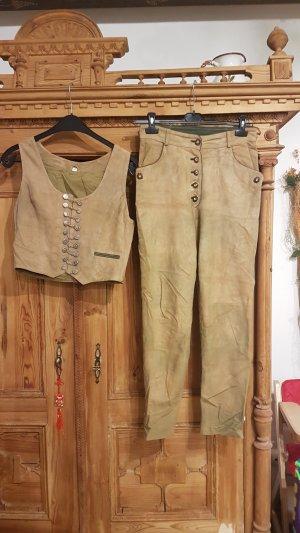 Pantalone in pelle tradizionale sabbia-marrone