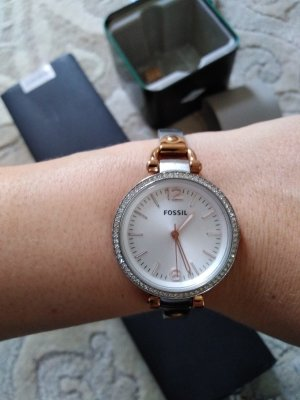 Fossil Watch With Metal Strap silver-colored-rose-gold-coloured