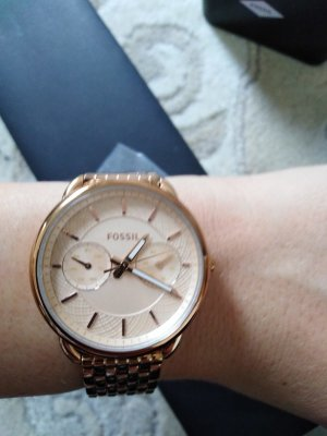 Fossil Watch With Metal Strap white-rose-gold-coloured