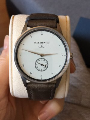 Paul Hewitt Watch With Leather Strap silver-colored-green grey