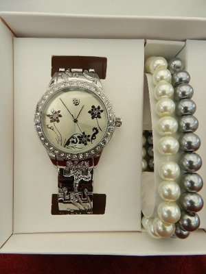 Damenuhr AURIOL®  Armbanduhr-Schmuckset - Silber - OVP
