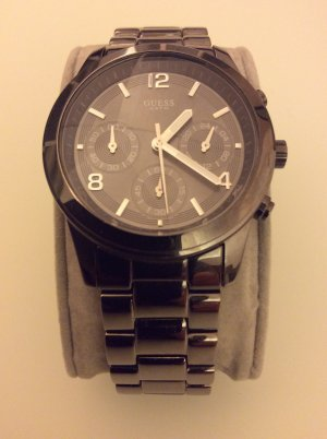 Guess Reloj gris antracita acero inoxidable