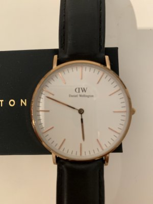 Daniel Wellington Watch With Leather Strap rose-gold-coloured-black