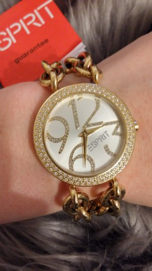 Damenuhr Esprit gold Zirkonia Armband Uhr mit Ketten Blogger