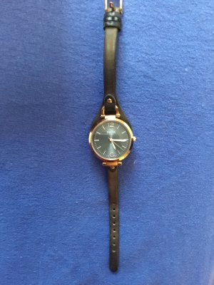 Fossil Montre analogue bronze-noir cuir