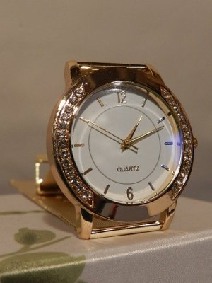 Damenuhr Luxury Gelbgold Kristall Strass Armbanduhr - Analog - Quarz