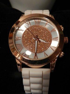Damenuhr Luxus Kristall in Chrono Look Roségold - neu