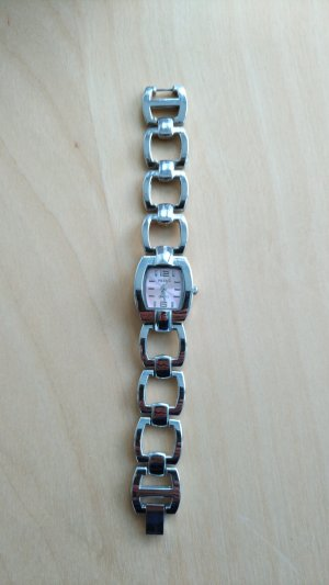 Analoog horloge zilver-lichtroze