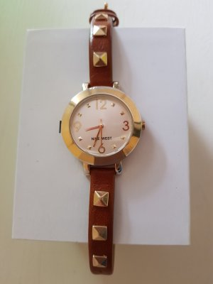 Nine west Watch With Leather Strap brown-sand brown leather