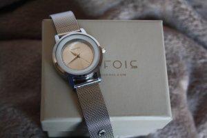 Parfois Reloj con pulsera metálica color plata acero inoxidable