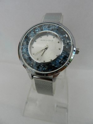 Analog Watch silver-colored-neon blue