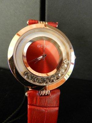 Damenuhr Rot Lederarmband, bewegliche Kristalle, 5 Bar- wasserdicht